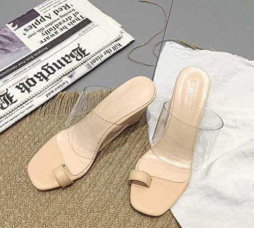 Ducha antideslizante de la Casa de las sandalias transparentes, flip-flop sandalias, zapatillas con pendiente talón Beach Plataforma-Apricot_39, sandalias del dedo del pie junto a la piscina profesion