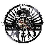 SSCLOCK Joueurs de Football Horloge Murale Sport vestiaire décoration Murale Moderne Design Rugby Disque Vinyle Horloge Murale Fan de Football Cadeau