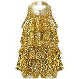 TiaoBug Niñas Vestido de Danza de Latina Jazz Hip Hop Vestido de Baile de Lentejuelas para Niñas Chicas Traje de Vestido de Baile Brillante 5-14 Años Dorado 9-10 años