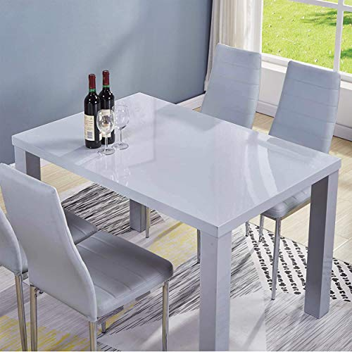 GOLDFAN Modern High Gloss Dining Tables Rectangle Kitchen Tables 4-6 Seater Dining Table, Wood, Grey (Only Table)