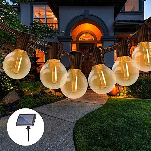 Guirnaldas Luces Exterior Solar con USB Recargable, Tomshine 7.6M Guirnaldas Luminosas 25+2 G40 Bombillas, 4 Modos Luz, IP45 Impermeable, Luces Decorativas para Jardín,Terraza,Patio,Exterior