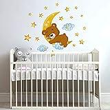 R00447 Pegatina de pared para niños - Osito de peluche en la luna - Medidas 30x120 cm - Decoración de pared, Pegatinas de pared, Papel Pintado Adhesivo Efecto Tela