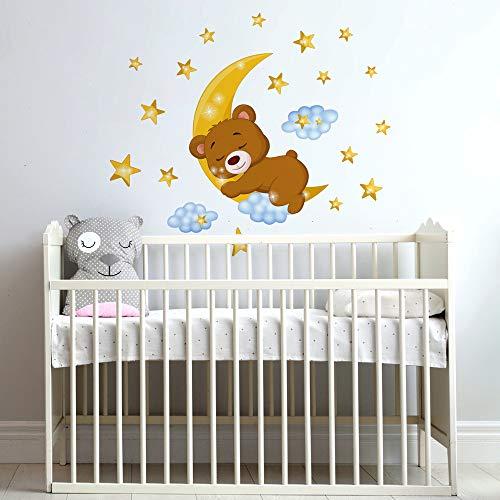 R00447 Adesivi Murali Soffice Effetto Tessuto Orsetto Decorazione Muro Bambino Neonato Nursery Cameretta Asilo Nido Carta da Parati Adesiva