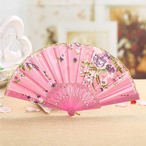 LXRLYN ventilator, inklapbaar, roze, vintage, beste dans, Chinese stijl, dans, bruiloft, van zijde
