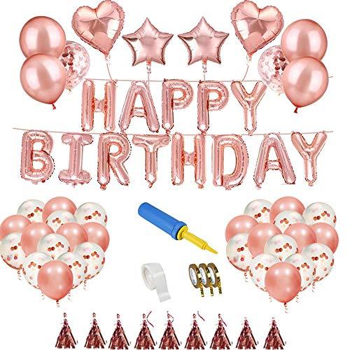 Geburtstagsdeko Dekoration, Innoo Tech Happy Birthday Girlande Ballons Partyzubehör Sets mit Happy Birthday Ballons Konfetti Luftballons Herz Folienballons für Kinder Geburtstag Party Deko, Baby Party