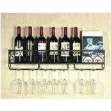 Elegante Semplicità Porta Bicchiere da Vino Industriale in Metallo a Parete Nero Vintage Elegante Semplicità Porta Bicchiere da Vino in Vetro da Champagne 80X20 cm Può Contenere 16 Bottiglie Di Espos