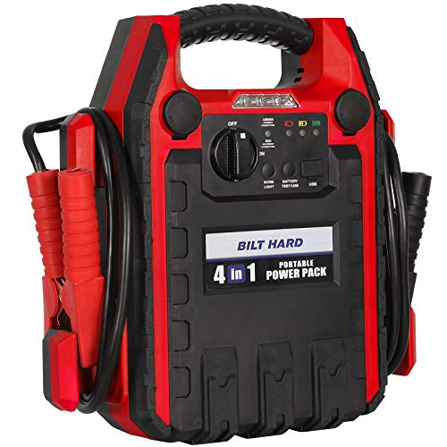 BILT HARD Jump Starter with Air Compressor, Portable Power Pack with Work Light, USB Port and DC Outlet, 900 Peak Amps, 250 PSI Air Compressor