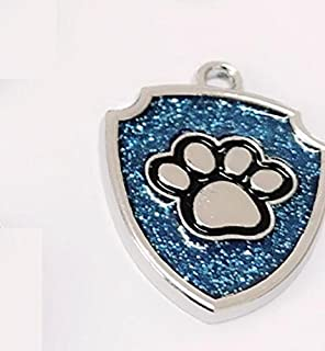 Polykor Useful Shield-Shaped Dog Paw Pattern Pet Necklace Accessories Dog Tag(Blue