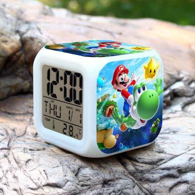 N/Z Super mario bros Relojes de Alarma de los Niños LED Reloj de dibujos animados de la noche de la luz Flash de 7 colores que cambia de reloj digital electrónico de escritorio, estilo 14