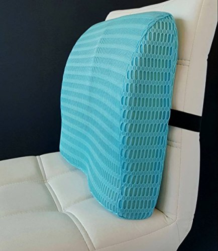 Sleepy Folks Blue Back Pillow For Lower Back Pain - Support Dual Use Back and Seat Cushion With Strap - Best Back Cushion for Any Chair in the Office in the Car in the Home!