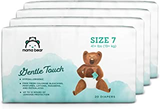 Amazon Brand - Mama Bear Gentle Touch Diapers, Size 7, Assorted Print, 80 Count (4 packs of 20)