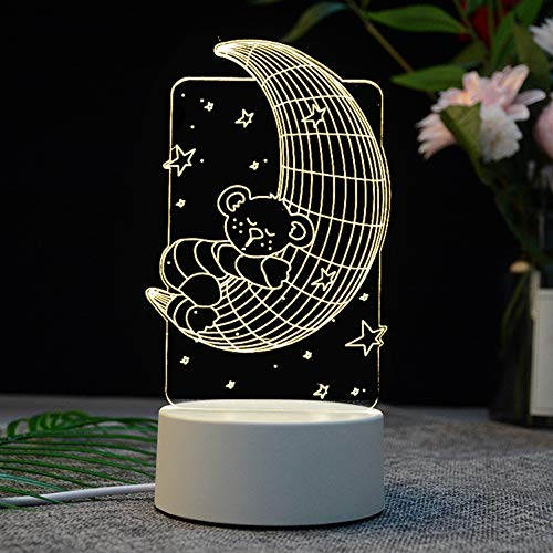Phantom 3D Nachtlicht Led Tischlampe UsbSchnittstelle Schlafzimmer Nacht Touch DreiFarbenMoonlightStereoLampe Elk Tower Schlafzimmer Cartoon, Reis