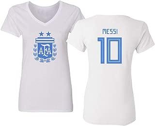 National Soccer 2019 Argentina #10 Lionel Messi Copa America Vneck Tshirt