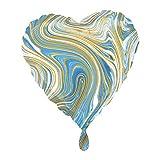 1 globo con forma de corazón Marblez azul, blanco y dorado, jaspeado,...
