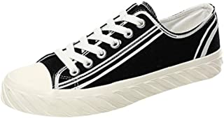 Shangruiqi Casual Skateboard Sneakers for Men Outdoor Walking Shoes Lace Up Canvas Shoes Strong Antislip Outsole Low Top Anti-Wear (Color : Black, Size : 6 UK)