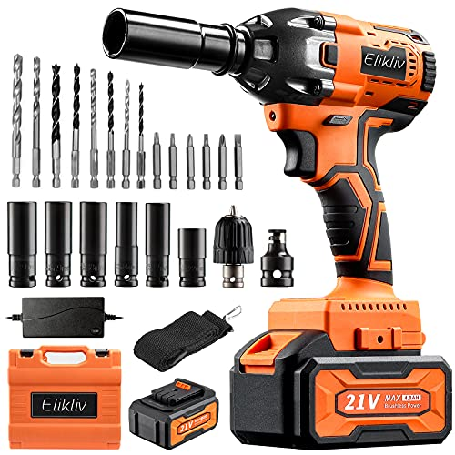 1/2' Cordless Impact Wrench,2pcs 4.0Ah Battery 380Nm Torque 3800 RPM Impact Driver,21V Battery Powered Brushless Wrench,6pc Sockets & 14pc Driver & Drill Bits for Car (Most Japanese Cars)& DIY Project