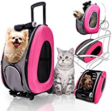 4 in 1 Pet Carrier + Backpack + CarSeat + Carriers on Wheels for Dogs and Cats (Pink)