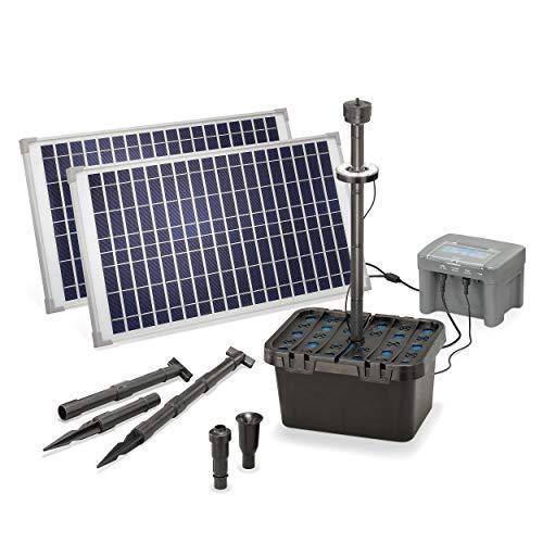 Solar Teichfilter Set Profi bis 3.000 l Teich - 1.300 l/h Förderleistung 50 Watt Solarmodul - neuester 12 V/12 Ah proBatt Akkuspeicher mit LED Licht - Gartenteich Filter Komplettset, esotec 101063