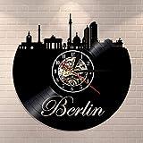 Reloj de pared con diseño de horizonte de la ciudad de Berlín, Alemania, diseño urbano de vinilo