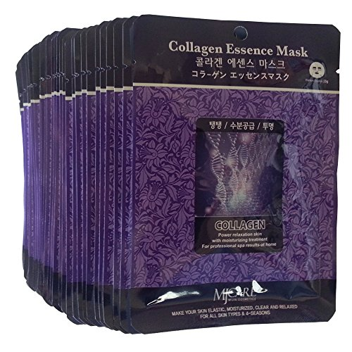MJ Collagen Essence Face Skin Mask Pack Elastic,Moisturized,Clean,Relaxed 30Pcs (Collagen)