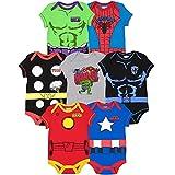 Marvel Vengadores Pantera Negra Hulk Iron Man Capitán América Spiderman Thor Paquete de 7 Body - - 0-3 meses