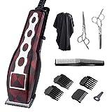 Maquina para cortar pelo, kit de recortador de cabello profesional para hombres, ajustable el equilibrio de potencia y ruido por tornillo de potencia, con 4 peines de límite, 2 tijeras