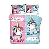 AMCYT - Ropa de cama de microfibra con diseño de unicornio y arcoíris, muy suave, con funda de edredón y funda de almohada, 3, 200*200