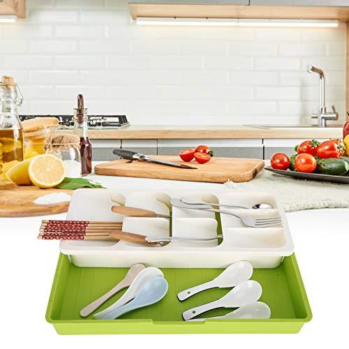 Okuyonic Soporte de Cuchara múltiple Organizador de Tenedores Multicapa Cocina(Off-White)