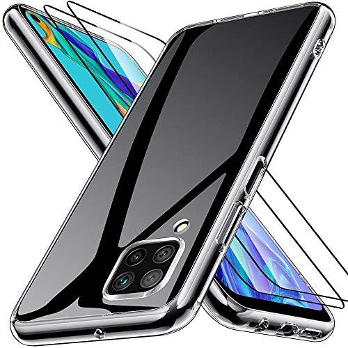 Kensou Hülle für Huawei P40 Lite mit 2 Stück Panzerglas Bildschirmschutzfolie, Ultra Dünn TPU Bumper Anti-Kratzer Schock-Absorption Silikon Handyhülle für Huawei P40 Lite - Klar