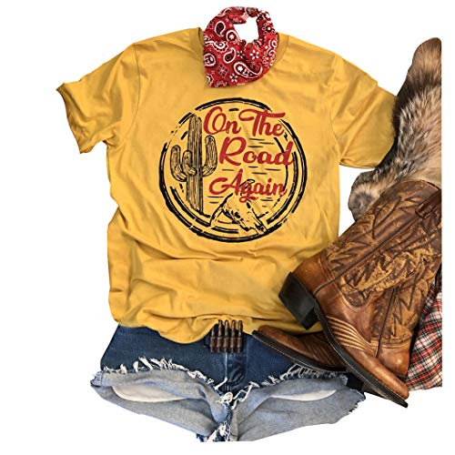 On The Road Again Retro Shirt Graphic Tees for Women Short Sleeve Cute Top Size XL (Yellow)