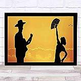 Mural de 12x10 pulgadas, pareja de flamenco española, bailarina, guitarrista, siluetas al atardecer, paisaje, decoración de pared, decoración del hogar