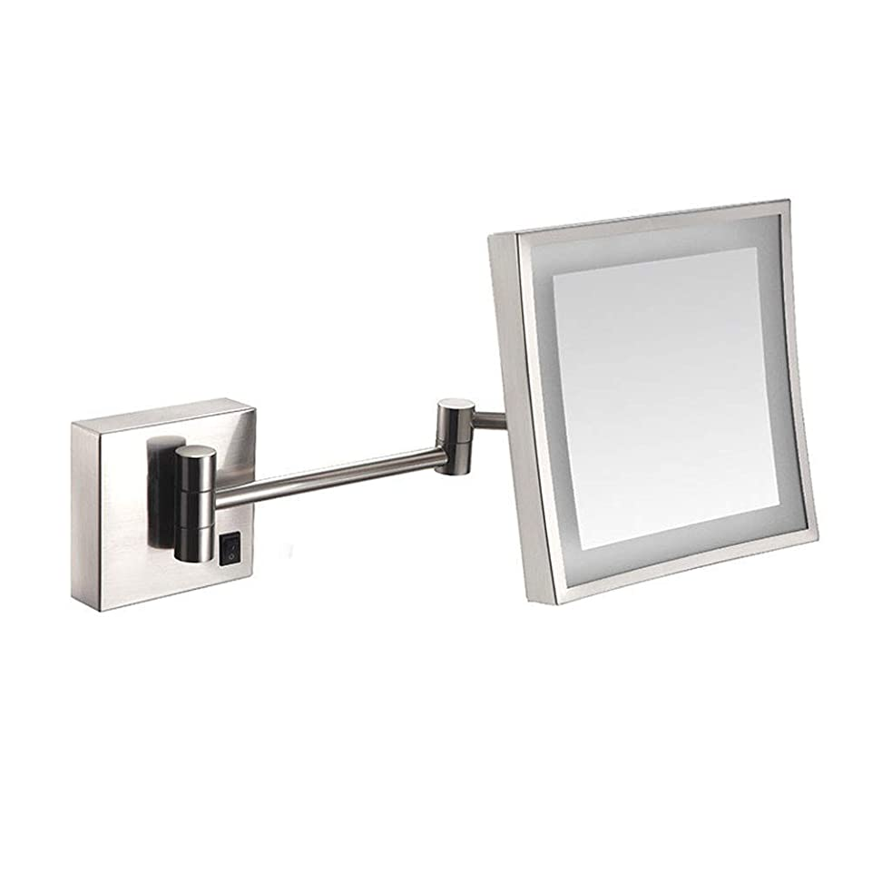 スケートレコーダー進化する浴室シェービングミラーLED照明と3倍の倍率の壁に取り付けられたUSB充電化粧鏡シングルサイド正方形バニティミラー拡張可能な内蔵リチウム電池20 x 20 CM