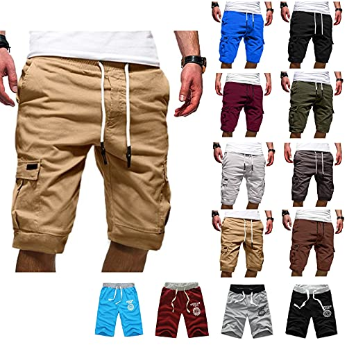 ZITIANY Mens Cargo Shorts Plus Size Elastic Waist Casual Summer Hiking Workout Beach Pants with Pockets