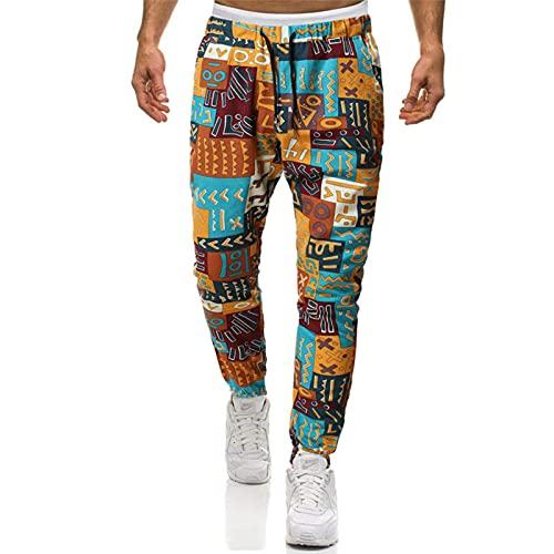 Woovitpl Cojines de Lino de algodón para Hombre Pantalón Africano Africano Pantalones Pantalones Pantalones Jogging Pantalones Hombres Casual Hip Hop Streetwear Ropa Africana Fondos XXL