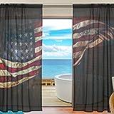 yibaihe Fenster Sheer Gardinen Panels Voile Drapes Tüll Gardinen Schöne Einrichtung Flying American Flagge 140W x 213 L cm 2Einsätze für Wohnzimmer Schlafzimmer Girl 's Room