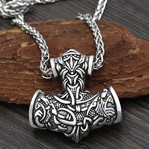 Serired Men Viking Super Mjolnir Necklace, Thor's Hammer Odin Raven Runes Alloy Pewter Pendant Amulet, Nordic Pagan Vintage Pagan Jewelry with 24 Inche Chain,Silver