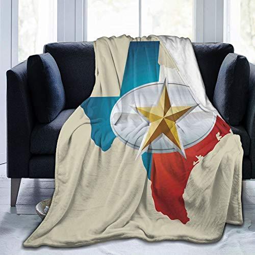 KOSALAER Bedding Manta,Diseño de Estrella de Hebilla de cinturón de Vaquero con Mapa de Texas Partes del suroeste de América,Mantas cálidas de Sala de Estar/Dormitorio Ultra Suaves