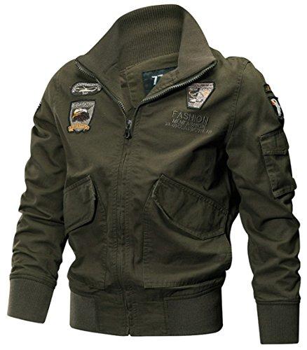 Hombre Algodón Chaqueta Bomber Jacket Cazadora Mangas Militar Invierno Casual Chaquetas Bolsillos Múltiples Chaquetas Chaqueta Moto (Verde Ejército K8203, ES XL/Tag Asia 4XL)