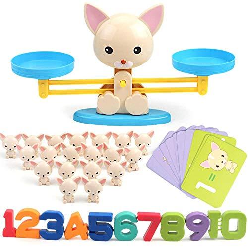 Volwco Perro Equilibrar Juego De Matemáticas, 64 Piezas Juguete De Aprendizaje Aprender A Contar Números Y Matemática Básica, Regalo Educativo De Juguete para Niños Y Niñas Preescolar