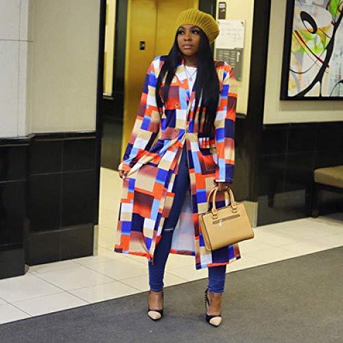 Jskdzfy Chaquetas para mujer con estampado a cuadros y manga larga, solapa de doble botonadura y abrigos para mujer (color: 3.5 Reino Unido, tamaño: mediano)
