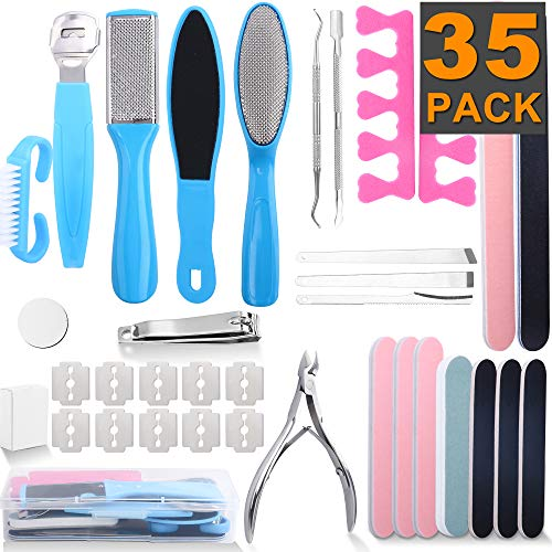 XPCARE Professional Pedicure Tools Set 35 in 1, Foot Care Kit Stainless Steel Foot Rasp Foot Dead Skin Remover Pedicure Kit for Men Women Christmas