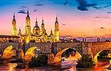 FAWFAW Puzles Adulto De 1000 Piezas, Hermosas Luces del Palacio En Zaragoza España Gran Puzzle De Madera 75X50Cm