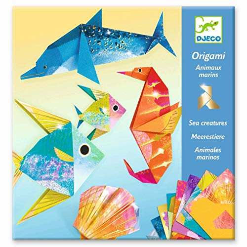 Djeco- Papiroflexia Origami Animales Marinos (mín. 2 u.) Muñecas y Figuras (DJ08755)