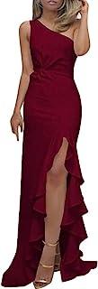 Lulupi Donna Abito Eleganti da Cerimonia Donna Vestito con Spacco Senza Spalle Cut out Sexy Vestito Tubino Abito da Sera