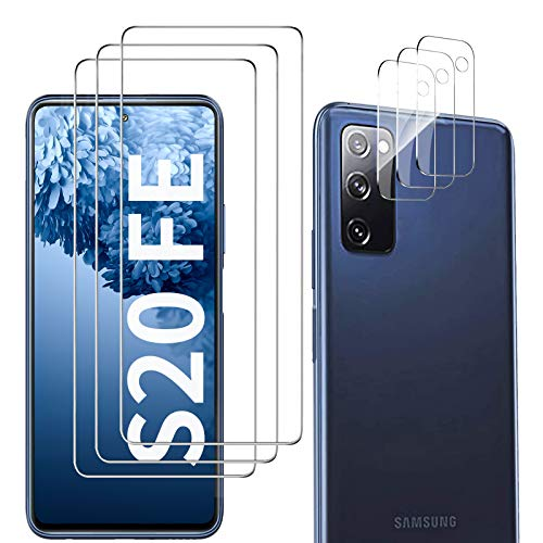 Galaxy S20 FE Screen Protector and Camera Protector, [3 Screen Protectors+3 Camera Protectors][Support Fingerprint] Tempered Glass Screen Protector for Samsung Galaxy S20 FE 5G/4G