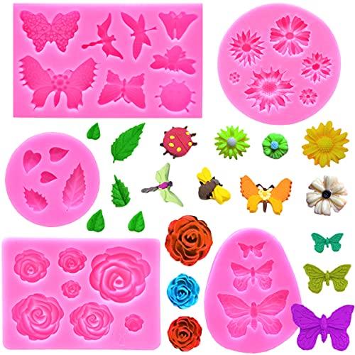 5 Stück Silikon Fondant Kuchen Formen,Schokolade Süßigkeiten Form,3D Rosen Blumen Silikonformen Blätter Formen Schmetterlinge Silikonform für Schokolade Marzipan Kuchen Gelee Muffin Süßigkeiten