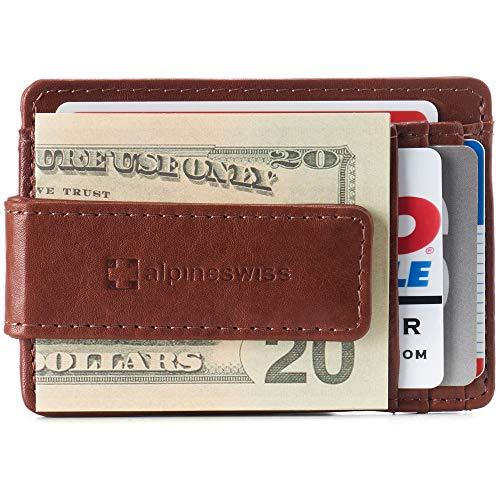 Alpine Swiss Harper Mens RFID Slim Money Clip Front Pocket Wallet Minimalist Leather ID Card Holder Tan