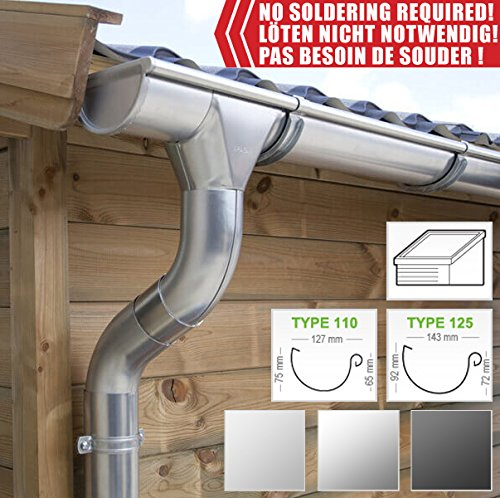 Zinc guttering kit for shed roof (1 roofside) | in Titanium zinc/galvanised/Anthracite! Ideal for shed or Summer House! (All-in-one kit up to 13,60 m [Type 110], Titanium zinc)