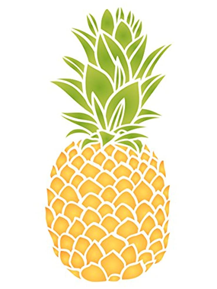 Pineapple Stencil - 3 x 6.5 inch (S) - Reusable Fruit Vegetable Kitchen Wall Stencil Template - Use On Paper Projects Scrapbook Journal Walls Floors Fabric Furniture Glass Wood Etc.