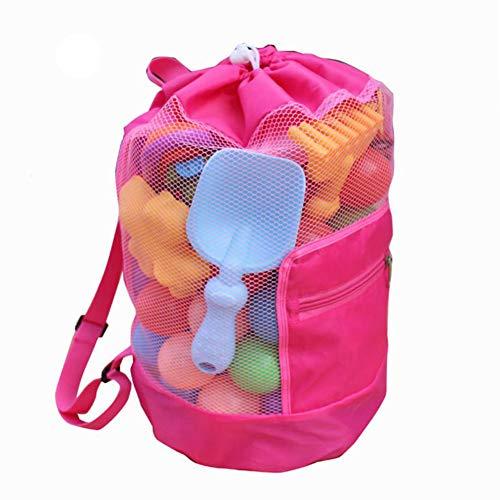 Betterle Grand sac filet pour enfants, sac à bandoulière, pliable, avec cordon de serrage, sac à dos pour plage, piscine, jouets, volleyball, football, pour éviter l'eau et le sable rose